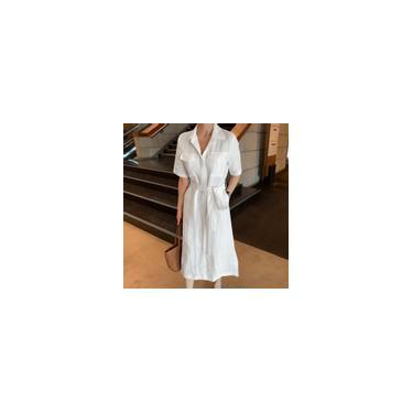Imagem de Zanzea feminino casual solto de botões com cinto vestido de algodão verão camisa midi Branco S