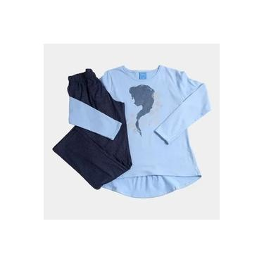 Pijama Disney Frozen Infantil Lupo Celeste Azul Marinho