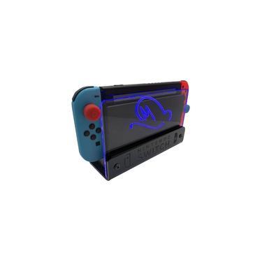 Suporte Bancada/Parede Nintendo Switch Iluminado - Mario Odyssey - Base Preta LED Azul
