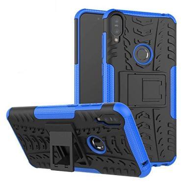 Capa Capinha Anti Impacto Para Asus Zenfone Max Pro M1 Zb602kl Tela 6.0Case Armadura Hybrid Reforçada Com Desenho De Pneu - Danet (Azul)