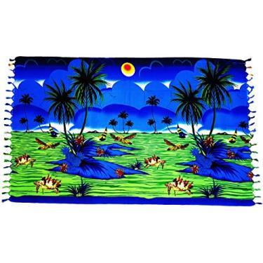 Canga De Praia Paisagem Tropical Várias Cores e Modelos (Azul Marinho)