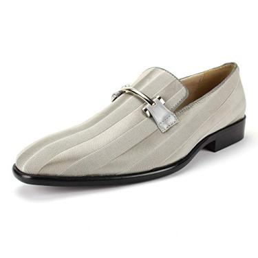 Sapato social masculino Expressions 6757 de cetim listrado e sem cadarço da RC Roberto Chillini, Cinza, 13