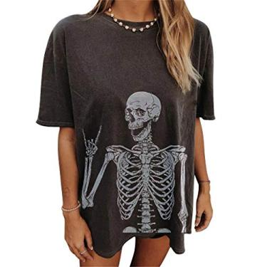 Camiseta feminina Moon and Sun, tamanho grande, vintage, estampa da natureza, blusa tie dye, túnica solta, Xyx1210303ab55, S