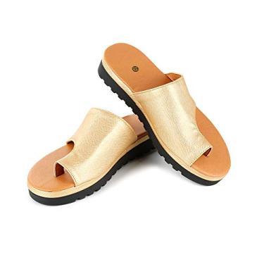Imagem de Corretor de joanete confortável sandália de couro de poliuretano aberta plataforma slip-on sola macia confortável sapato corretivo pés sandália alisada, Dourado, 36 M EU