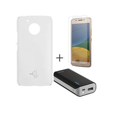 Capa para Moto G5 Transparente Motorola - MO-MMCRY0011 & Pelicula em Vidro Motorola & Carregador 4400 MAH - Trust