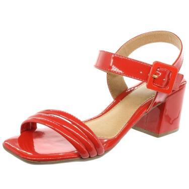 Sandália Dani Silva Bico Quadrado Saltinho QuadradoTiras Vermelha Verniz  feminino