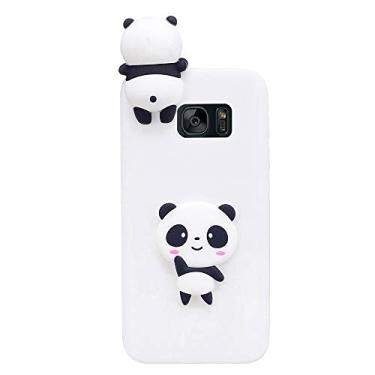 SHUNDA Capa para Galaxy S7, capa bumper de gel de silicone macio [película de desenho fofo 3D] capa protetora de corpo inteiro à prova de choque para Samsung Galaxy S7 - Panda branco