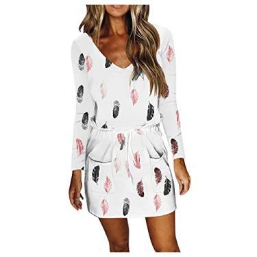 Imagem de SLENDIPLUS Vestido feminino casual com gola V, manga comprida, solto, liso, degradê, penas, cordão com bolsos, #008: branco, XXG