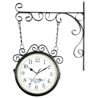 776ba74829d Relógio de Parede com Suporte Preto para Decoração - Estilo Estação  Ferroviária Retrô Vintage Flores