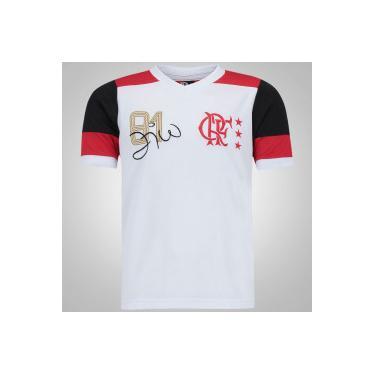 Camiseta do Flamengo Zico nº 10 - Infantil - BRANCO VERMELHO Braziline 90bd4aa2f995c
