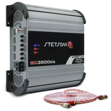 Módulo Amplificador Stetsom Export Line EX 3500 3500W RMS 1 Canal 2 Ohms + Cabo RCA Stetsom 5M 2mm