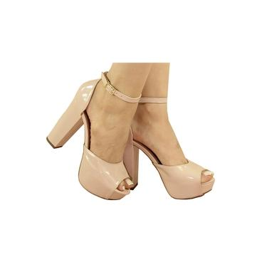 Sandalia Feminina Nude Rosê Salto Alto Salto Grosso Meia Pata Plataforma Sapatos