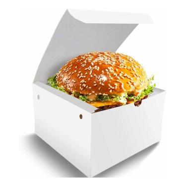 Caixa Box Embalagem Para Hambúrguer P Branco 500Un