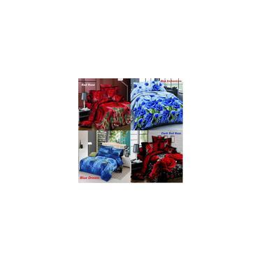 Imagem de 4 Pçs / set 3D Vermelho / Azul Rosa Impresso Conjunto de Cama Capa de Edredão Lençol Fronhas Queen Size Colcha Roupa de Cama