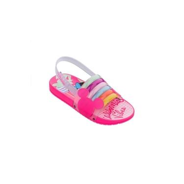 Sandalia Rasteira Minnie Vibes Menina Grendene - Rosa Neon