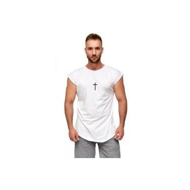 Camiseta masculina manga japonesa branca Dalcomuni Cruz