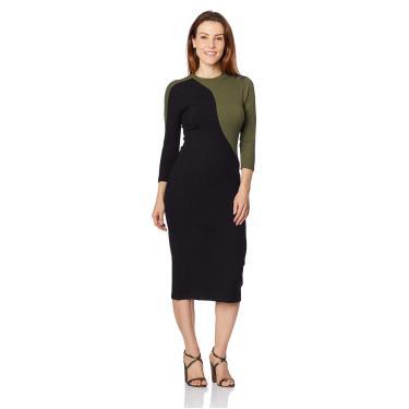 Vestido Midi Canelado Sommer, Feminino, Preto/Verde, G