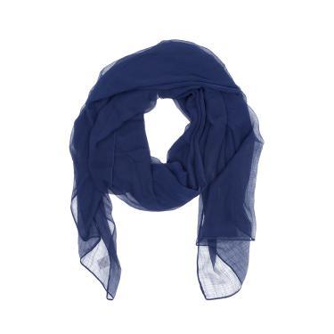 Lenço tecido shiffon fino liso único  Azul marinho