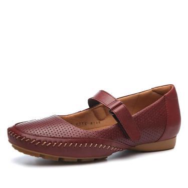Sapato Couro Doctor Shoes 2779 Pespontos Marsala 2779-MA-29-1042 feminino