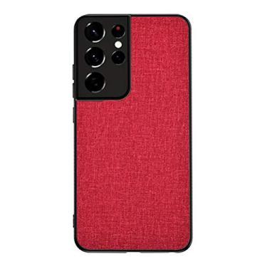 """YINCANG Capa Galaxy S21 Ultra Case,Tecido de Lona TPU Macio e Resistente a Arranhões Case Smartphone de Alta Qualidade Capa para Samsung Galaxy S21 Ultra 6.8"""" Vermelho"""