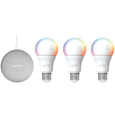 Imagem de Kit Nest Mini 2ª Geração Smart Speaker - Com Google Assistente + 3 Lâm