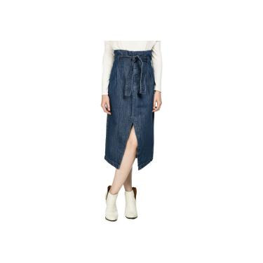 Saia jeans midi clochard lezalez Tamanho:P;Cor:Azul