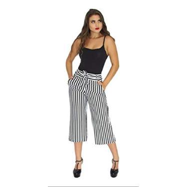 Calça Pantacourt Pantalona Listrada Ou Preta Lisa. (Branco com Preto, P)