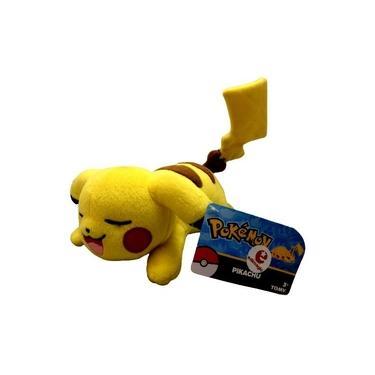Imagem de Boneco De Pelúcia Personagem Pokémon Pikachu Deitado Amarelo - Original Tomy
