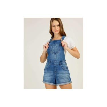 Jardineira Feminina Jeans Bolsos Marisa