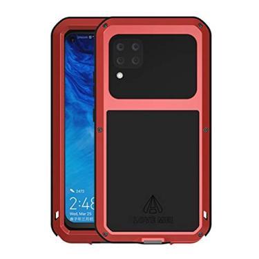 Hicaseer Capa para Huawei P40 Lite/Nova 6 SE, à prova de choque, neve, à prova de poeira, metal de alumínio durável Gorilla capa de proteção total para Huawei P40 Lite/Nova 6 SE - Vermelho