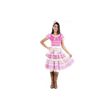 Imagem de Vestido de Festa Junina Adulto Feminino Vestido Caipira Luxo Com Tiara
