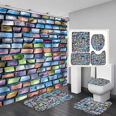Imagem de Conjunto de cortinas de chuveiro com tema de tijolos coloridos, conjunto de quatro peças, com tecido de gancho para decoração de banheiro, acessórios à prova d'água, decoração de casa, à prova d'água, lavável na máquina