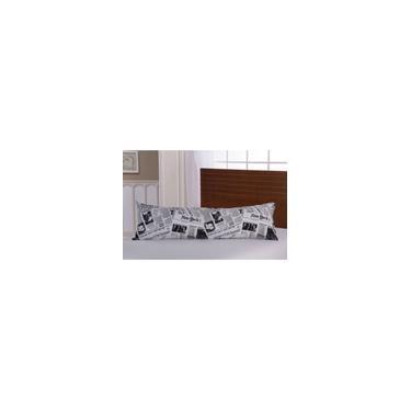 Imagem de Fronha Avulsa p/ Travesseiro Corpo 0,50x1,50m c/ Zíper Percal 150 fios estampa jornal
