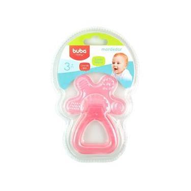 Imagem de Mordedor para Bebê Buba Gelado com Água Chocalho Rosa