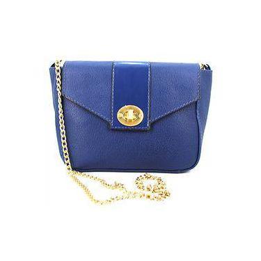 Bolsa Feminina Dumond Pequena Tiracolo em Couro Azul Marinho 483915