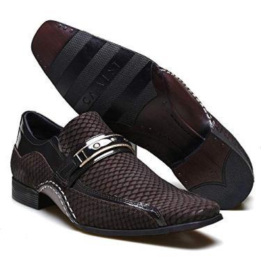 Sapato Social Masculino Calvest em Couro Snake Café com Metal Dourado - 1930C229-45