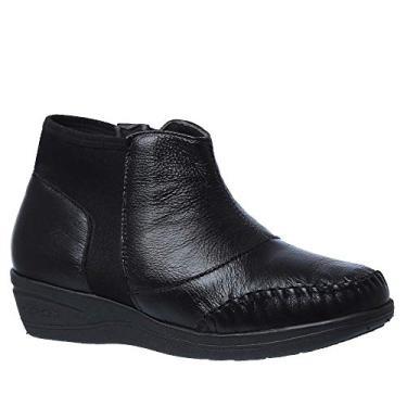 Bota Feminina 181 em Couro Roma Preto/Techprene Preto Doctor Shoes-Preto-36