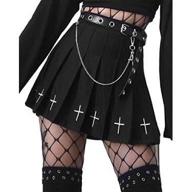 Saia gótica plissada sexy roxa cintura alta mini saia xadrez com cadarço, Saia preta + cinto, S