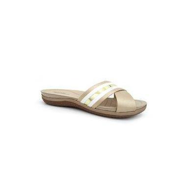 Chinelo Rasteira Conforto 7125.106 - Modare (14) - Bege/branco/dourado