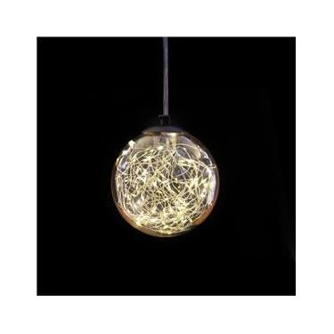Luminária de Teto Pendente Vagalume com Acabamento Preto e Vidro Âmbar