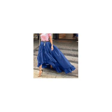 Vestido feminino saia longa assimétrica cintura alta babado swing casual maxi saia plus size Azul 4XL