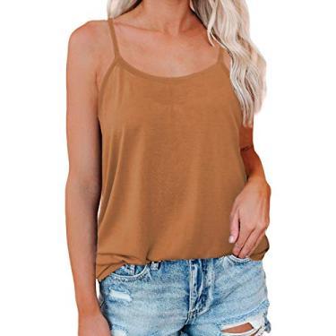 Luolon Camiseta regata feminina sexy gola V ajuste solto macia alças finas, B Bronzeado, M