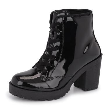 Bota Tratorada Cano Baixo CR Shoes Salto Verniz 1700L Preto 1700 LBM feminino