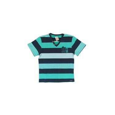 Camiseta Menino Infantil Casual Estilosa Verde e Marinho Verão Decote V Listrada Manga Curta Bg.Gr - Boca Grande