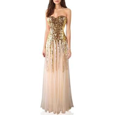 Imagem de Angel-fashions Vestido de casamento feminino com lantejoulas e tule, Dourado, Small