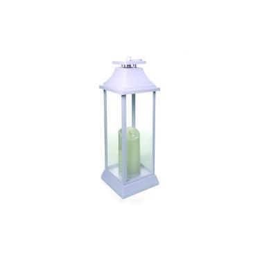 Lanterna C/ 1 Vela Eletrônica Decoração Natal A Pilha Branco