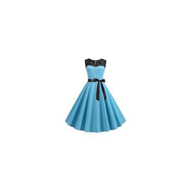 Vestido Midi Renda Feminina Sem Manga Festa Noiva Casamento Formatura Cor Azul Claro Tamanho P