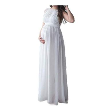 Doufine Vestidos de chiffon femininos plus size sem mangas lisos para gestantes, Branco, X-Large