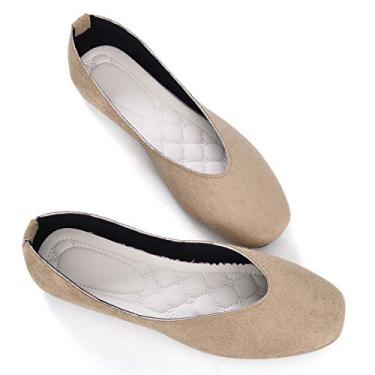 Sapato de balé feminino Stunner retrô com cabeça quadrada, Caqui, 8.5