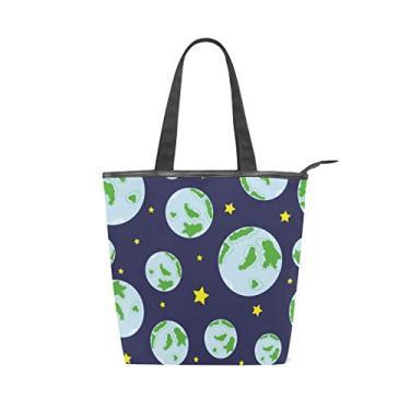 Bolsa de mão de lona com alça superior planeta Terra em azul bolsa de ombro para mulheres